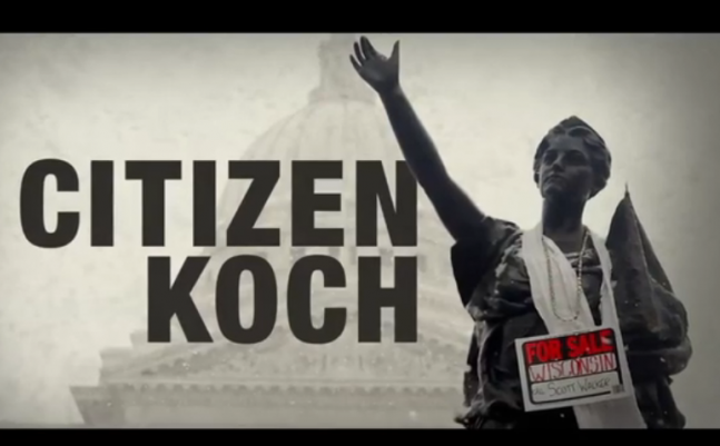 promotional graphic for Citizen Koch; statue with a for sale sign around neck in front of government buidling