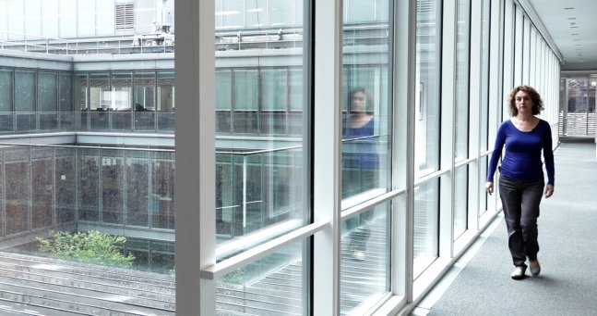 A woman is walking through a glass hallway in an art museum.