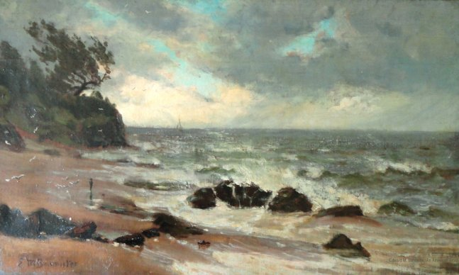 A photo of Edward M. Bannister's painting of the ocean.