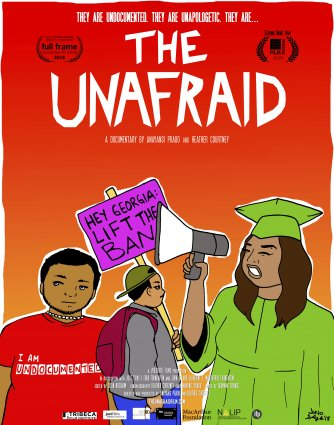 """An animated graduate in a green rob holds a megaphone in front of a student protester and latin american individual with a """"I am Undocumented"""" red t-shirt."""
