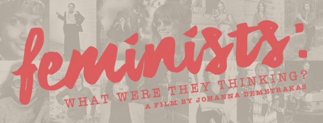 The main title text appears over a collage of famous feminist figures.