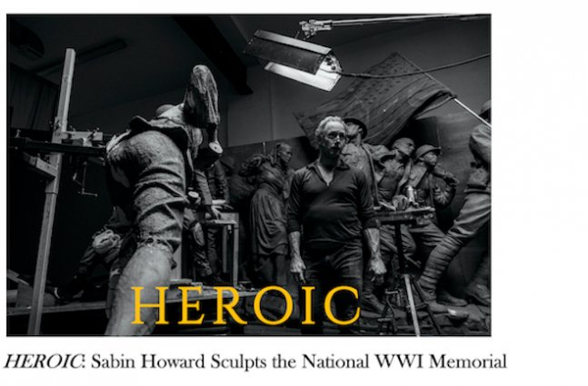 Sabin Howard stand in the middle of his sculpture studio surrounded by massive statues of charging soldiers.