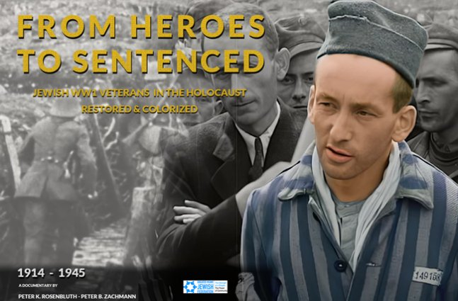 A jewish man in a suit is overlapped with the image of the same jewish man in concentration camp outfit