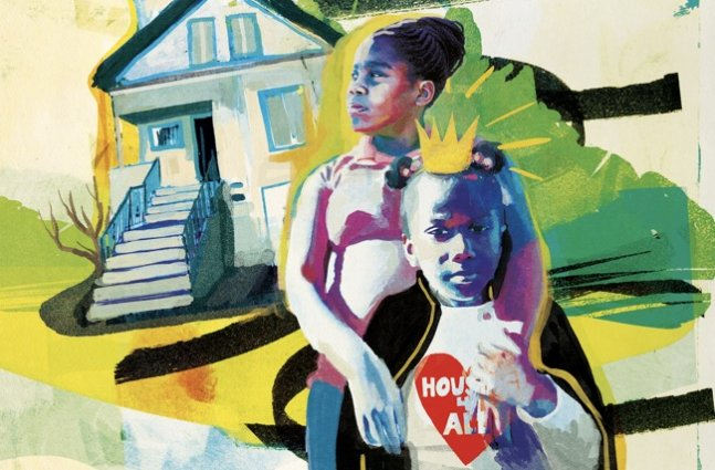 """A Black adult woman and a young Black girl with a """"housing 4 all"""" t-shirt stand in front of a city house in this painted image"""