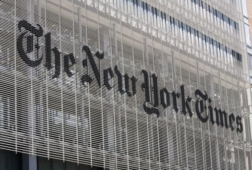 """""""The New York Times"""" building front"""