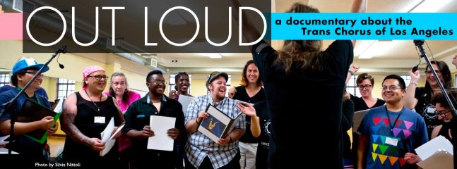 """""""Out Loud"""" Poster banner featuring laughing conference attendees"""