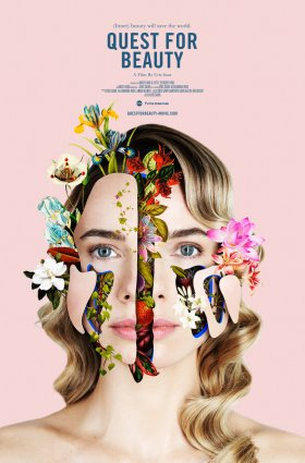 """flowers, leaves and other natural imagery seep through the artificial """"cracks"""" in a young White woman's face."""