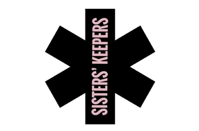 """Black asterisk over white background with light purple vertical text across the asterisk that reads """"Sisters' Keepers"""""""