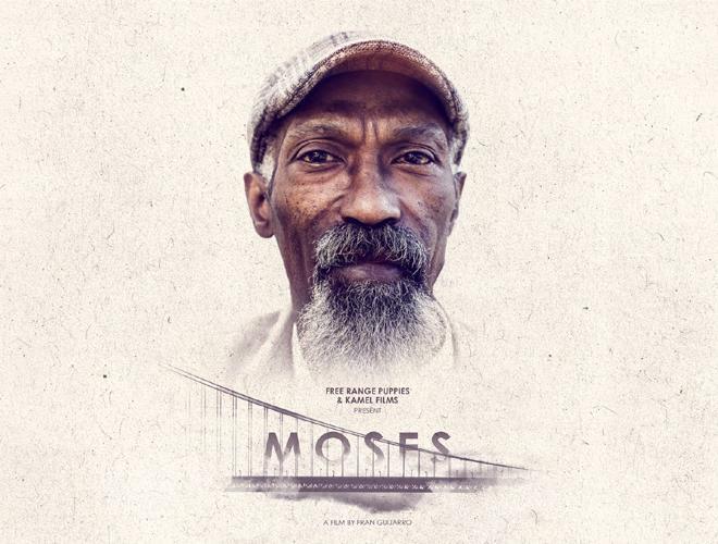 A portrait shot of Moses superimposed over the Golden Gate Bridge.