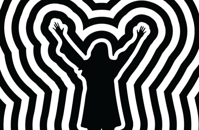 A silhouetted woman raises her arms and several black and white rings echo out from her frame.