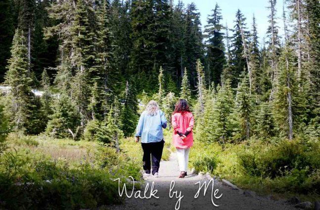 Two people walk side by side into the light, in a wooded area