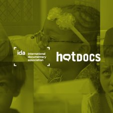 A collage of IDA-supported film stills in black and white with a light green overlay, and the IDA and Hot Docs logos placed on top.