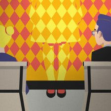 Vector graphic of two people sitting behind a meeting table, looking to the left. The person in front is invisible to them, blending into the wall