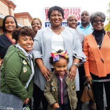 Georguia gubernatorial candidate Stacey Abrams with supporters