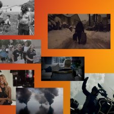 A collage of film stills on top of an orange to yellow gradient background.