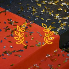 a red carpet on the steps with confettis on the floor.