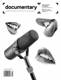 Fall 2019 cover of Documentary magazine features photorealistic drawings by Susan Yin of mouths surrounding a microphone
