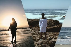 Collage of 3 photos, each with a person standing in front of the ocean