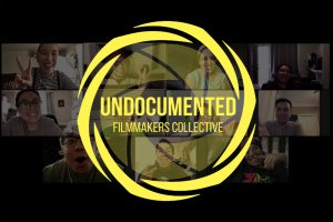 Logo of Undocumented Filmmakers Collective overlaid Zoom meeting screenshot