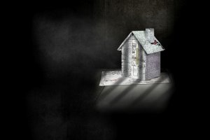 A paper house in the shadow