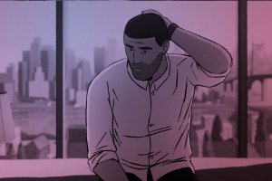 An animated man with brown skin and dark brown hair scratches his head. A city can be seen behind him.
