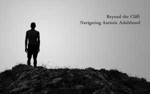 silhouetted man stands on the top of a rocky hill.