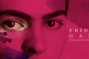 An extreme close up of Frida Khalo's eyes, with stylistic pink brushstrokes overlaying the picture