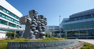 The front view of Martin Luther King Jr. Hospital.