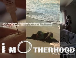 A person lying on the beach with iMotherhood logo placed on the bottom.