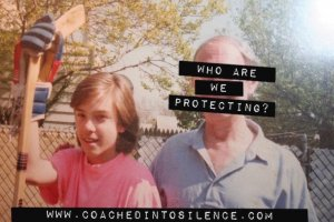 A Caucasian boy is holding a hockey stick and standing next to an elderly man with 'who are we protecting' sign labeled on.