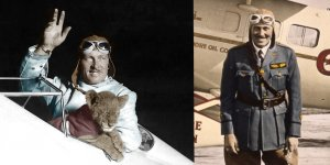 Roscoe Turner waves from the cockpit of a plane with his pet tiger in the left photo. He stands on the tarmac in front of his plane in the right photo.