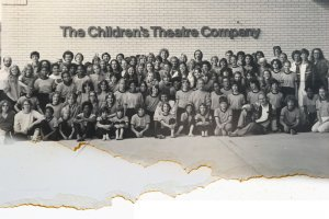 Black and white torn photo of theatre children some of which were victims of sexual assult.