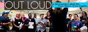 """Out Loud"" Poster banner featuring laughing conference attendees"