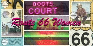 A collage of images from Route 66, including neon signs, diner storefronts and highway signs.