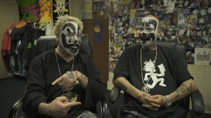 Two members of the Insane Clown Posse sit for an interview in Juggalo Clown Make-Up