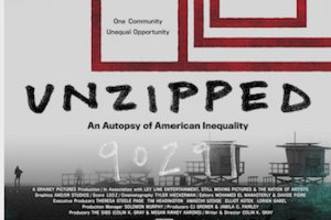 """Black and white lifeguard towers sit on a foggy beach beneath a geometric design of the American flag and the film title """"Unzipped."""""""