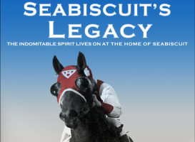 the racing horse, Seabiscuit, races ahead of their opponents on the dirt racing track.