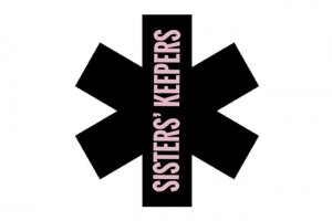 "Black asterisk over white background with light purple vertical text across the asterisk that reads ""Sisters' Keepers"""