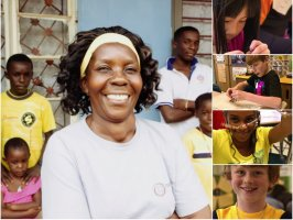 A compilation of photos of diverse children and instructors smiling and working on crafts.