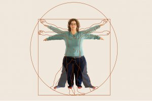 A take on the Vitruvian Man with a woman with dwarfism in the center