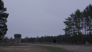Treblinka Monument at a distance with a figure walking through the stones.